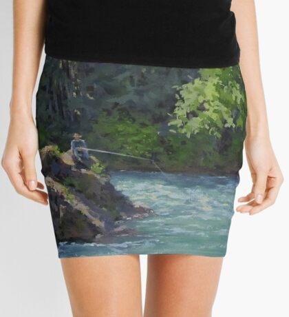 Favorite Spot - Original Fishing on the River Painting Mini Skirt