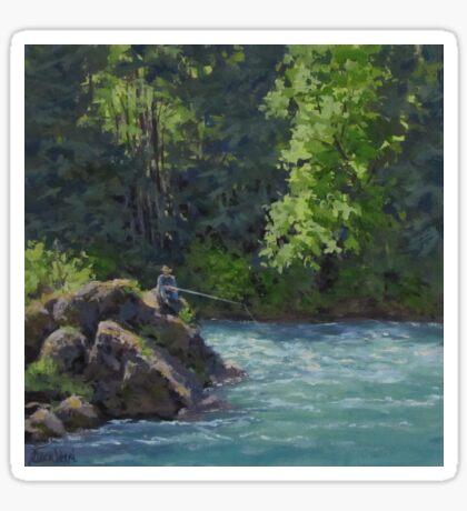 Favorite Spot - Original Fishing on the River Painting Sticker