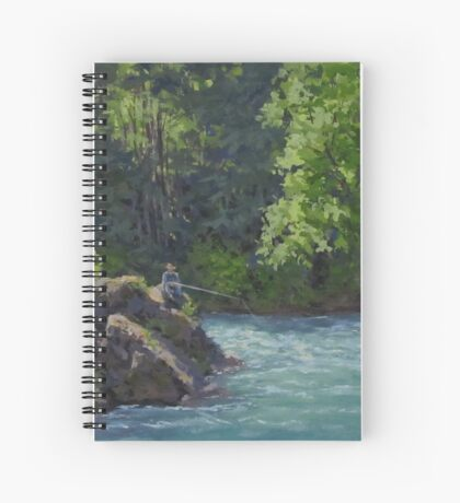 Favorite Spot - Original Fishing on the River Painting Spiral Notebook