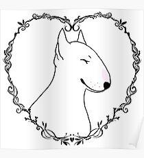 Love Bull Terrier - Black & White Poster