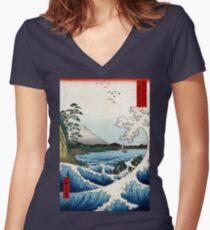 Utagawa Hiroshige The Sea at Satta in Suruga Province Women's Fitted V-Neck T-Shirt