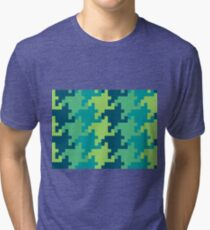 Pixellated Houndstooth Tri-blend T-Shirt