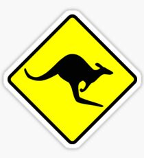 Australian Kangaroo Crossing Road Sign Sticker Aussie Roo T-Shirt Sticker