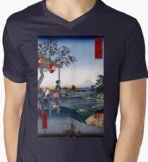 Utagawa Hiroshige Das Teehaus mit Blick auf den Berg Fuji T-Shirt mit V-Ausschnitt