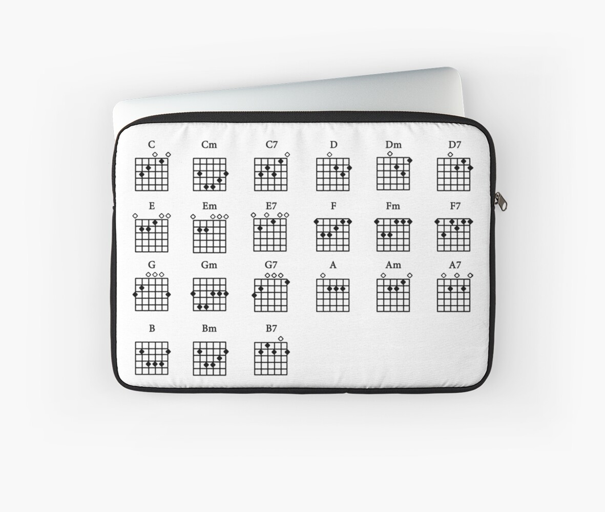 Basic Guitar Chords Laptop Sleeves By Forestkat Redbubble