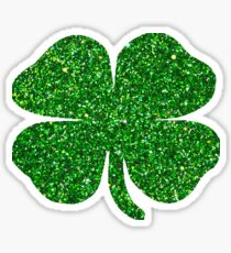 St. Patrick's Day Emerald Green Glitter Shamrock 4 Leaf Clover Sticker