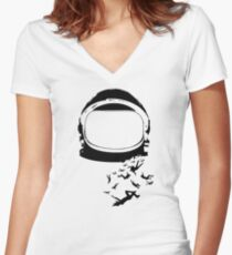 The 100 - Space Helmet Women's Fitted V-Neck T-Shirt