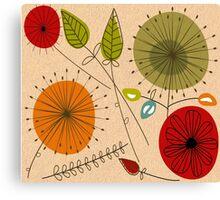 Mid-Century Modern Floral Multi Color Canvas Print