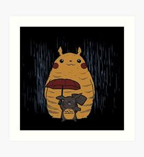 Totoro and Pikachu Art Print