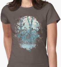Dark Forest Skull Womens Fitted T-Shirt