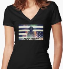 A$AP ROCKY MULTICOLOR Women's Fitted V-Neck T-Shirt