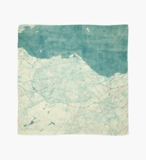 Edinburgh Map Blue Vintage Scarf
