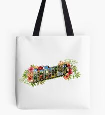 """Old Fashioned Postcard Style """"New Orleans"""" Logo Tote Bag"""