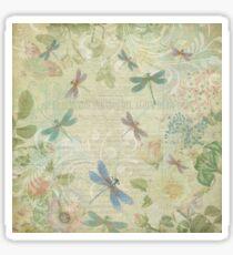 Weinlese-Libelle mit Blumen Sticker