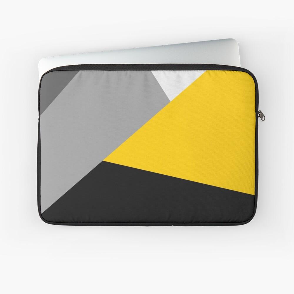 Einfaches modernes graues gelbes und schwarzes Geo Laptoptasche