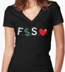 Official Fuck Money Spread Love - J.cole Women's Fitted V-Neck T-Shirt