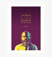 Socrates quote: The unexamined life Art Print