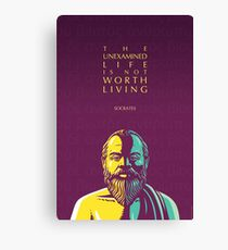 Socrates quote: The unexamined life Canvas Print