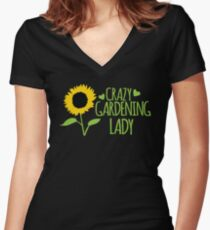Crazy Gardening Lady Women's Fitted V-Neck T-Shirt