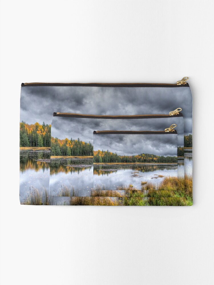 Alternate view of Overcast day over the pond Zipper Pouch