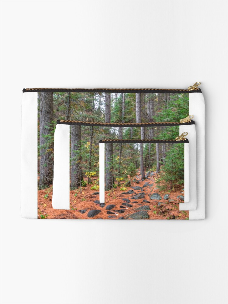 Alternate view of Rocky path through the pine forest Zipper Pouch