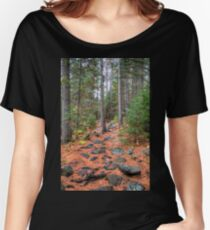 Rocky path through the pine forest Relaxed Fit T-Shirt