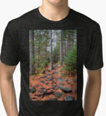 Rocky path through the pine forest Tri-blend T-Shirt