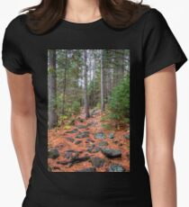 Rocky path through the pine forest Fitted T-Shirt