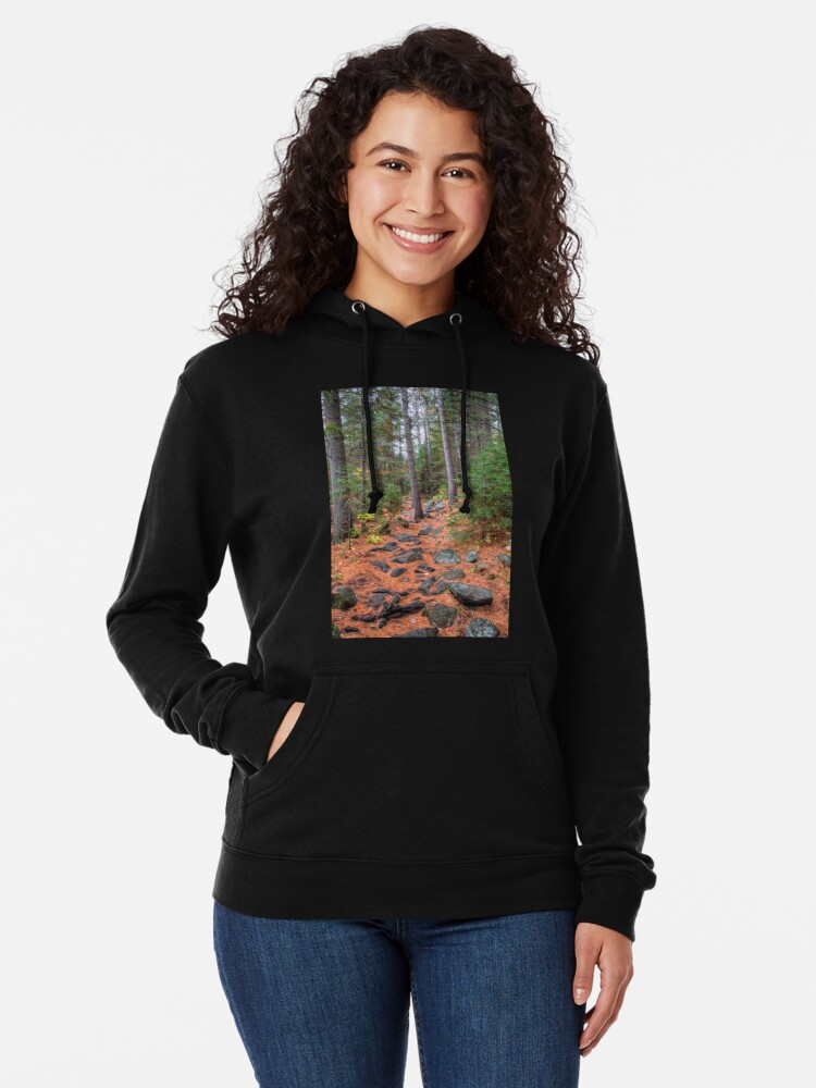 Alternate view of Rocky path through the pine forest Lightweight Hoodie