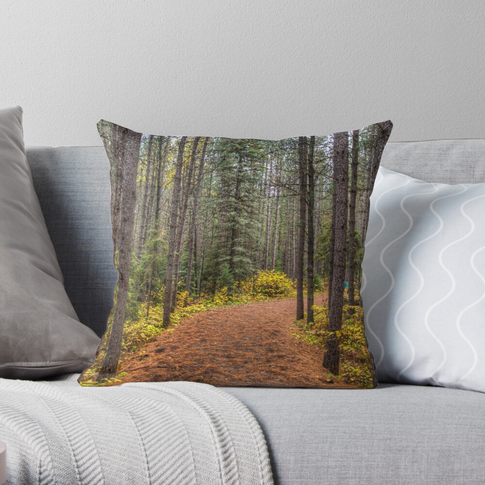 Path between the pines Throw Pillow