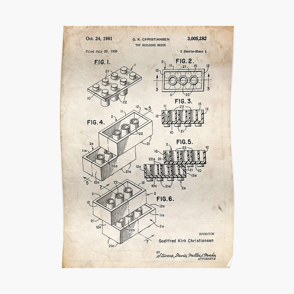 Lego Toy Blocks US-Patent Art Poster