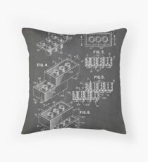 LEGO Construction Toy Blocks US Patent Art blackboard Throw Pillow