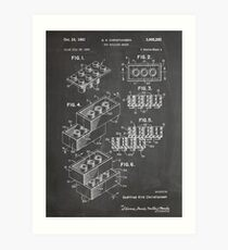 LEGO Construction Toy Blocks US Patent Art blackboard Art Print