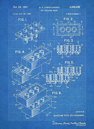 LEGO Construction Toy Blocks US Patent Art blueprint by Steve Chambers