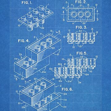 LEGO Construction Toy Blocks US Patent Art blueprint by geekuniverse