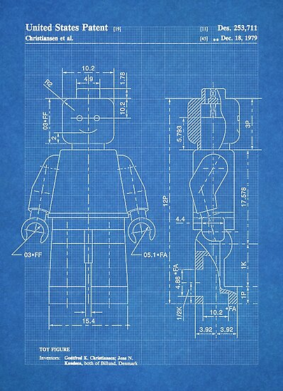 Lego minifigure us patent art mini figure blueprint posters by lego minifigure us patent art mini figure blueprint by steve chambers malvernweather