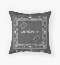Monopoly Board Game US Patent Art 1935 Blackboard Throw Pillow