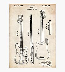 Fender Precision Bass Guitar US Patent Art Photographic Print