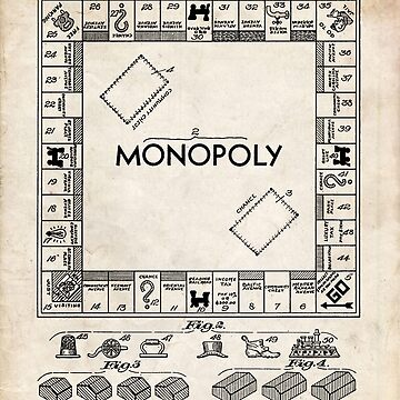Monopoly Board Game US Patent Art 1935 by geekuniverse