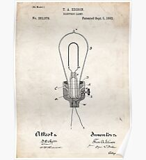 Edison Light Bulb Invention US Patent Art Poster