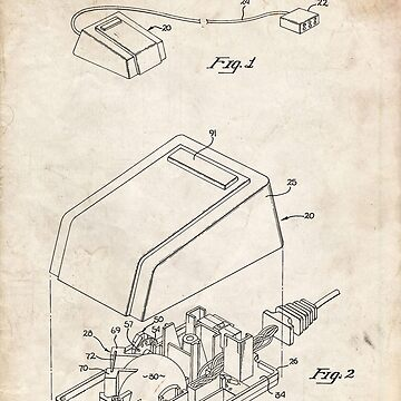 First Computer Mouse US Patent Art Apple Steve Jobs 1984 by geekuniverse