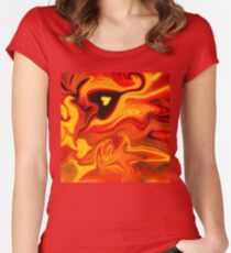 Hot Hearts Abstract Painting Women's Fitted Scoop T-Shirt