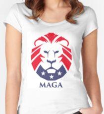 Camiseta entallada de cuello redondo Logotipo de MAGA trump