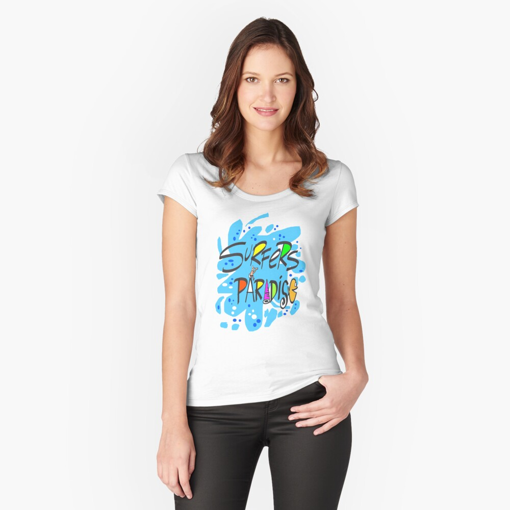 Fun blue splash design featuring Surfers Paradise Women's Fitted Scoop T-Shirt Front