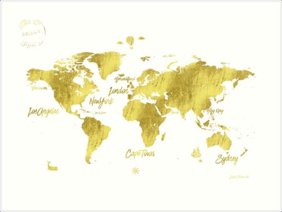Gold world map jules verne inspiring art prints by pranatheory gold world map jules verne inspiring by pranatheory gumiabroncs Gallery