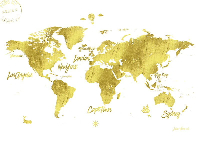 Gold world map jules verne inspiring stickers by pranatheory gold world map jules verne inspiring by pranatheory gumiabroncs Gallery