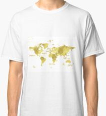Gold world map Jules Verne inspiring Classic T-Shirt