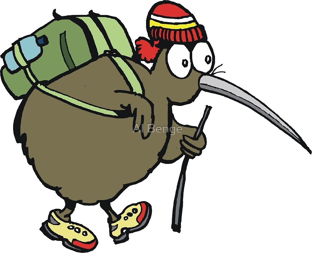 Cartoon of kiwi bird traveller carrying back pack by Al Benge