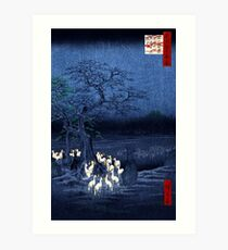 Hiroshige New Year's Eve Foxfires at the Changing Tree, Oji Art Print