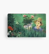 Edouard Manet - Boy in Flowers Jacques Hoschede 1876 Canvas Print